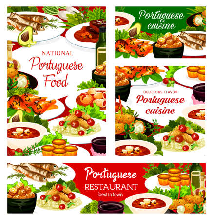 Portuguese cuisine dishes pasteh cakes, cod soup, pasteigi, fish croquettes, and jinia cherry liquor. Sardines, piri riri chicken and stewed chicken in wine with beef stew portugal food posters set Ilustração