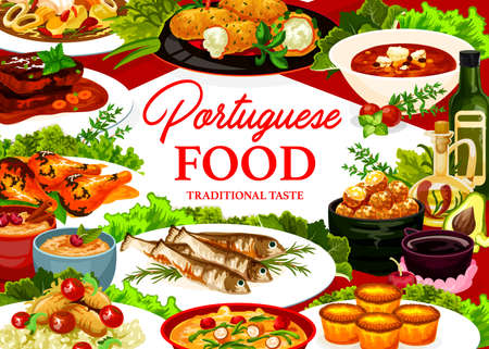 Portuguese food vector stuffed squid, cod soup and pasteigi, fish croquettes, sardines, pasteh cakes and piri riri chicken. Portugal meals jinia cherry liquor, stewed chicken in wine, beef stew poster