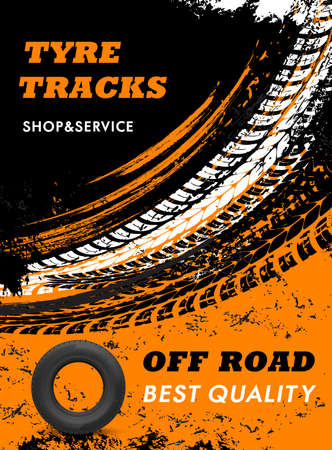 Car off road tires shop and service grungy poster. Automobile rubber tires, vehicle wheel marks and car protector threads, truck tires dirty trails vector. Tires repair and replacement service banner