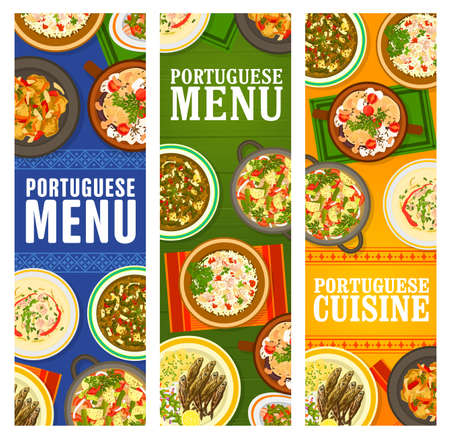 Portuguese cuisine restaurant menu dishes banners. Pork tenderloin, Bacalhau a Bras cod fish, sausage and beef vegetable stew, Kale cabbage and bean soup, paella Mariscada, grilled sardines vector Illustration