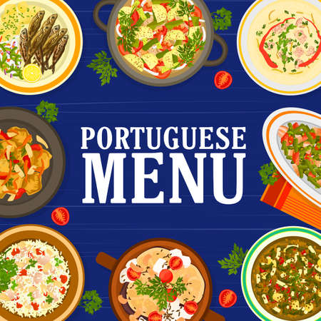 Portuguese cuisine food menu meals and dishes. Pork tenderloin, paella Mariscada and grilled sardines, white bean and Kale cabbage soup, Bacalhau a Bras cod, sausage and beef vegetable stew vector