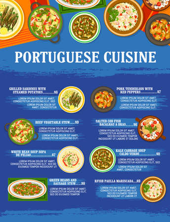 Portuguese cuisine restaurant meals menu template. Grilled sardines, beef and sausage stew, pork tenderloin, Bacalhau a Bras cod fish and paella Mariscada, Sopa de Feijao and Caldo Verde soup vector