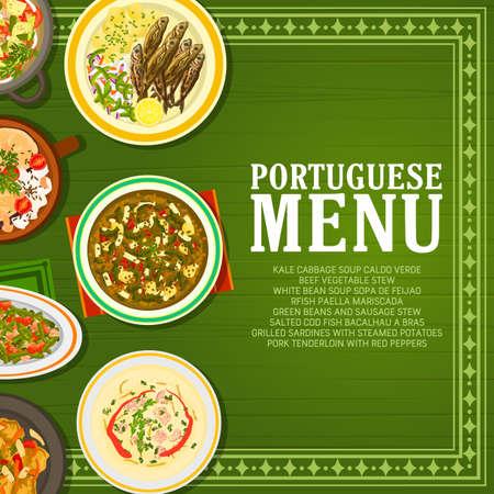 Portuguese restaurant food menu banner. Pork tenderloin, grilled sardines and Bacalhau a Bras cod, sausage and beef stew, Caldo Verde and Sopa de Feijao soup vector. Portuguese cuisine meals poster