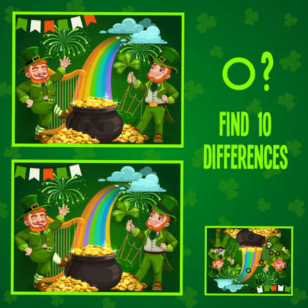 Kids game find ten differences. Vector cartoon St Patricks day Leprechaun characters with pot of gold, rainbow, lucky clover and fireworks, harp or flags. Educational children riddle, leisure activity