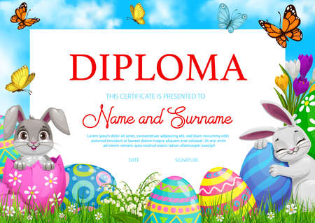 Education school diploma with vector Easter rabbits, painted eggs and flowers on green spring meadow with flying butterflies. Kindergarten kids certificate, cartoon egg hunt party award frame template