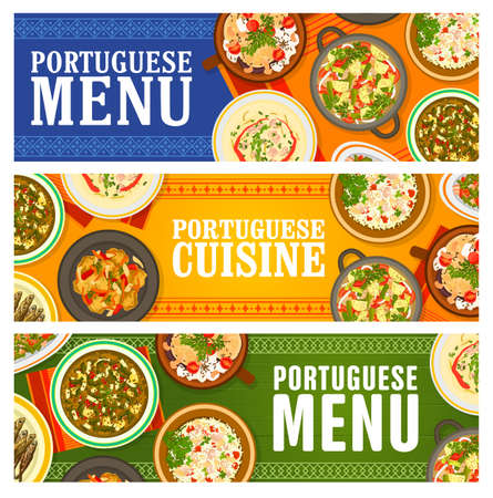 Portuguese food restaurant menu meals banners. Grilled sardines, paella Mariscada and pork tenderloin, beef vegetable, beans and sausage stew, bean and Kale cabbage soup, Bacalhau a Bras cod vector