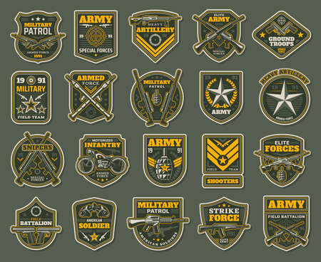Army special forces, military specialists badges set. Artillery, snipers and infantry patrol emblems with service rifle, machine gun and rocket launcher, grenade, handgun and motorcycle vector Ilustración de vector
