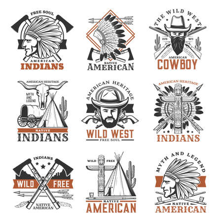 Wild west cowboy, american indians icons. Indian warrior in war bonnet, cowboy bandit in mask and totem pole, tipi, smoking pipe and bull scull, crossed tomahawks, rifle and pistol engraved vector Illusztráció