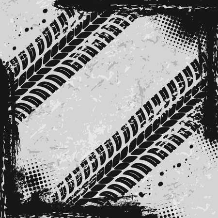Off road car tires marks grunge background. Vehicle wheels protector dirty traces, auto, motorcycle or truck tires treads vector texture with mud or dirt splatters. Motorsport or transport frame