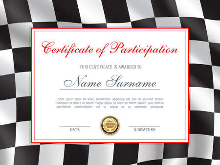 Races rally certificate or award diploma, vector car or motorcycle motocross championship cup. Car racing participation certificate with winner wreath golden medal award on checkered flag background