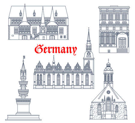 Germany landmarks architecture buildings, travel vector icons of German famous cathedrals. St Jacob church in Einbeck, Marienbrunnen fountain in Braunschweig, Hauptkirche Maria Virgin in Wolfenbuttel Vektorové ilustrace