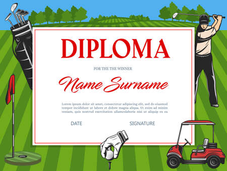 Diploma for the winner of golf tournament vector certificate template with golfer hitting ball on green field with flag, balls, car and sportsman equipment, sports achievement award frame design