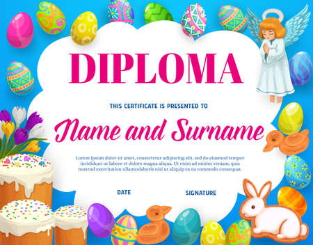 Diploma or certificate of kids education with vector frame background of Easter eggs, flowers and sweet bread. School graduation diploma, student achievement certificate or appreciation award template Vektorové ilustrace