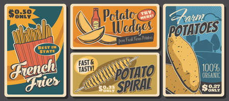 Potato food and meals, vector tornado spiral, raw batata and french fries, potato wedges snack. Farmer market vegetable products. Cafe or bistro assortment, vintage retro promo posters with price tags