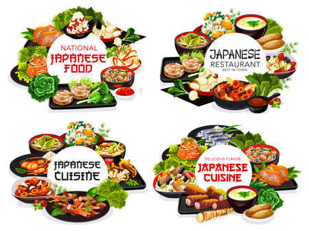 Japanese cuisine restaurant meals round banners. Japanese food dishes with seafood, roast chicken and pork meat, root vegetables salads, meals with enoki mushrooms, miso sauce and fried tofu vector