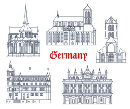 Germany landmarks buildings vector icons, German architecture of Rostock and Gustrow city. St Nikolai church Marienkirche, Wismar rathaus and gothic castle schloss, Cistercian cathedral in Bad Doberan