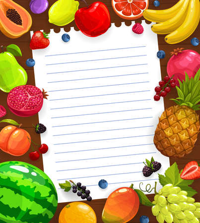 Fruit meal or salad cooking recipe vector template. Papaya, plum and lemon, apple, grapefruit and banana, pineapple, grapes and mango, strawberry vector. Kitchen recipe note with fruits and berries Ilustração