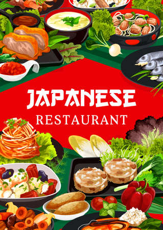 Japanese cuisine restaurant dishes poster. Fried tofu and chicken, temari sushi, daikon and carrot salad, roast chicken with hot peppers, yellowtail fish and kakigori ice dessert, nikomi udon vector