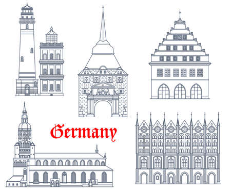 Germany landmarks buildings architecture and cathedrals of German Mecklenburg Pomerania cities. Rostock, Greifswald and Stralsund rathaus buildings, Ruegen lighthouse and gothic Steintor gates