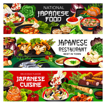 Japanese cuisine restaurant food banners. Fried mushrooms, stewed onions and filipino clams, salt-fried fish, turnip and daikon salad, burdock root, nikomi udon and mashed yams, fried tofu vector