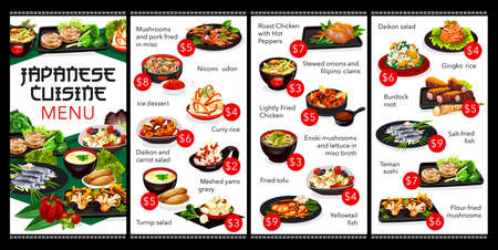 Japanese cuisine restaurant menu cover. Japan meals menu with seafood, rood vegetable salads and kakigori ice dessert. Dishes with miso sauce, rice and enoki mushrooms, chicken meat and sushi vector 向量圖像