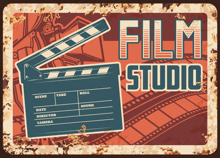 Film studio rusty metal plate with vector clapperboard, camera and filmstrip. Retro poster design for movie theater premier, cinematograph industry vintage rust tin sign, ferruginous promotion card