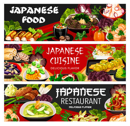 Japanese food cuisine dishes menu and meals, Japan Asian restaurant banners. Japanese cuisine udon noodles with chicken, shrimp seafood and vegetables, gourmet food fried onion and daikon salad