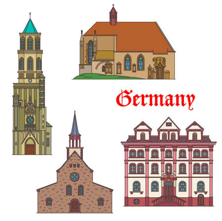Germany landmarks architecture in Bad Wurttemberg, German travel architecture, vector. Germany Rottweil chapel, Creglingen Allmachtigen Gottes Kirche church, Magnuskirche in Worms and Mackert-Haus
