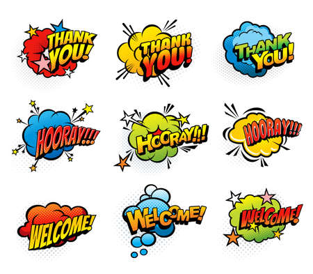 Comic retro exclamations and greeting speech clouds. Thank you, hooray and welcome pop art explosion bubbles. Comics blast clouds, icons or vintage stickers with exclamations and expressions