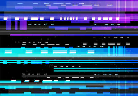 Abstract background with glitch effect, vector glitched distortion colored horizontal stripes, numbers and random pixels on black screen. Television distorted glitch video effect, no signal TV frame