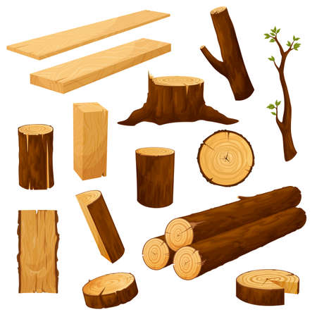 Tree stump, timber materials and wooden logs. Wooden plank, beam and billet, tree branch with leaves and cutted wood piece, firewood chunk cartoon vector. Natural lumber, carpentry materials set
