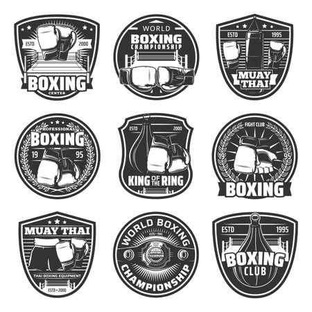 Boxing and muay thai single combats vector icons. Thailand kickboxing martial arts, fighting sport, muay thai boxers club or training center. Championship belt, boxing gloves, punching bag signs set