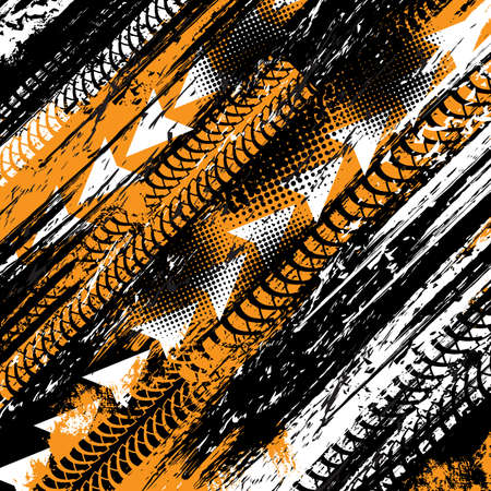 Tire tracks, bike wheels or motorcycle trail prints on road, vector truck halftone background. Motocross tire tracks on mud or grunge dirt, rally race speed scratches, tire dirty rubber tread traction