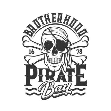 Pirate skull t-shirt print, head of skeleton with eye patch and bandana, crossbones flag. Pirate brotherhood sign of skull on water waves, sea corsair sailors and filibuster captain sailor club sign