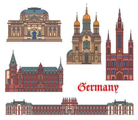Germany landmarks, travel architecture of Wiesbaden, German famous buildings, vector. Hessisches Staatstheater theater, Biebrich castle, Marktkirche church and Greek orthodox chapel landmarks