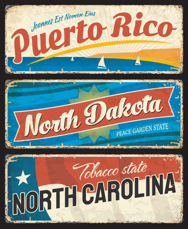 Puerto Rico, North Dakota and North Carolina states metal plates. United States of America region shabby retro sign, old signboards with inscription vintage typography, flag and rust texture vector