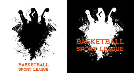 Basketball league players and ball in basket hoop, sport team club vector poster. Basketball league championship and tournament, silhouette of players shooting ball in basket hoop, splash background