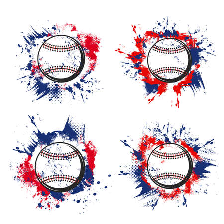 Baseball ball grunge icons of vector sport game tournament or team club design. Pitcher baseball balls with laces on blue and red halftone background with paint splatters, splashes and brush strokes