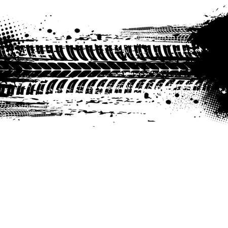 Tracks of tire, tire print traces and bike drift treads, vector dirt wheels background. Car races, motorcycle or tractor truck tracks with halftone grunge, pattern, bicycle dirty marks on road mud