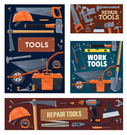 Construction industry, house repair tools and equipment. Pickaxe and sledgehammer, wheelbarrow, shovel and saw, level, caliper and measuring tape, toolbox, safety helmet, screwdriver and vise vector