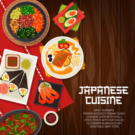 Japanese cuisine vector vegetable beef stew, cucumber gunkun sushi, and fried perch with soy sauce. Chicken liver with chilli, spicy shrimps and prawn avocado temaki sushi Japan food cartoon poster