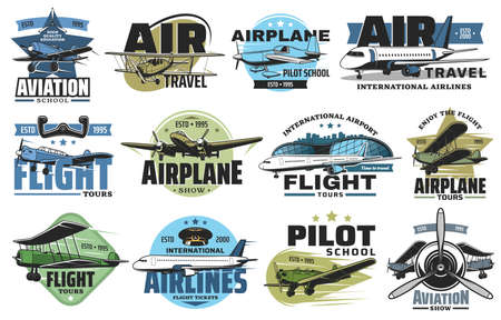 Aviation show and airline flight tours icons set. Airplane pilot school, airport flights and air travel emblem or badge. Modern aviation airliner and business jet, vintage biplane and monoplane vector
