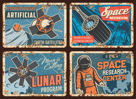 Space exploration technologies rusty metal plates. Earth artificial satellite, aerospace flights and science history museum, lunar program retro banners. Astronaut in spacesuit in outer space vector