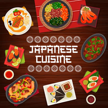 Japanese cuisine vector chicken liver with chilli, gunkun sushi with caviar, vegetable beef stew. Chicken shiitake salad, fried perch with soy sauce and spicy shrimps, prawn avocado temaki Japan food 向量圖像