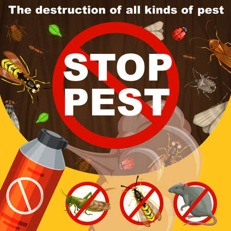 Insects extermination and pest control banner. Repellent or insecticide aerosol, locust, wasp and hornet, bedbug, cockroach and ant or termite, fly, indianmeal moth and rat in prohibition sign vector