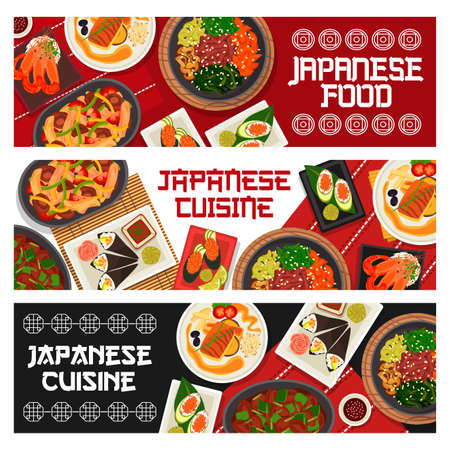 Japanese cuisine vector gunkun sushi with cucumber or caviar, vegetable beef stew or chicken shiitake salad. Fried perch with soy sauce, spicy shrimps and prawn avocado temaki sushi Japan food banners