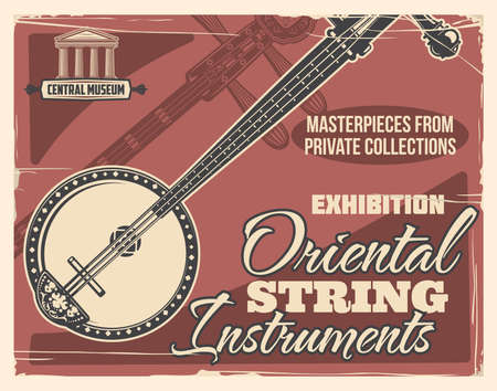 Oriental music instruments museum exhibition. Ancient japanese shamisen or samisen engraved vector. Exotic and folk string music instruments from private collection exhibition vintage banner