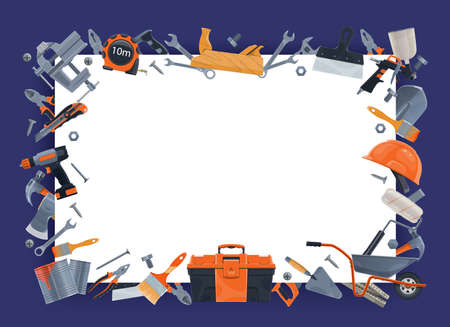 Tools for construction, repair and house renovation works banner. Plane, wrenches and spatula, paint brush, roller and player, utility knife, wheelbarrow and power screwdriver, safety helmet vector
