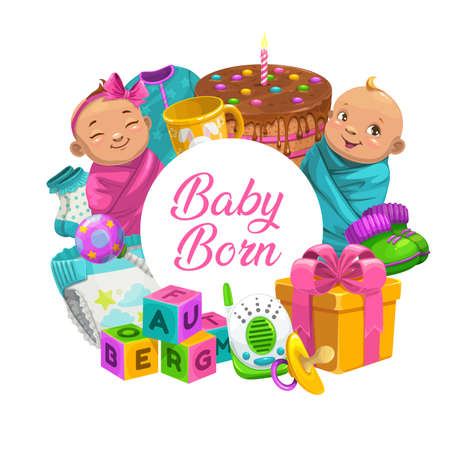Baby born cartoon vector round banner with newborn children boy and girl, toys, gift box, birthday cake and kids care stuff. Isolated frame with diaper, baby monitor and cubes with booties and