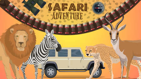 Safari adventure vector banner with wild African animals. Cartoon lion, cheetah, zebra and gazelle, savannah predators and herbivores. Vehicle, bandolier, compass and binoculars, hunting club safari tour